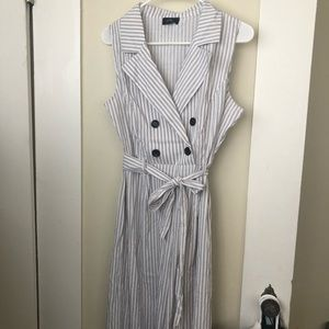 Other - White&Black Striped Button Wide Leg Jumpsuit